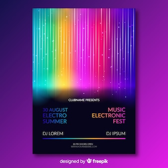 Music festival poster template with colorful lines
