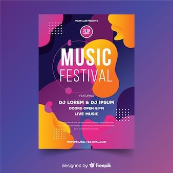 Шаблон плаката музыкального фестиваля с эффектом жидкости