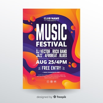 Music festival poster template with liquid effect