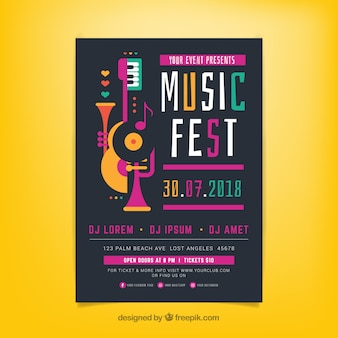 Music festival poster template with music instruments