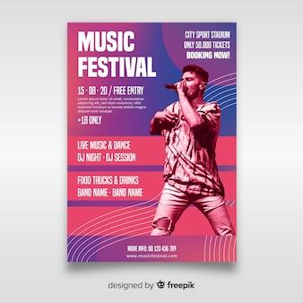 写真付き音楽祭ポスターテンプレート