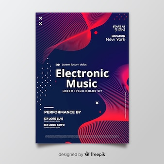 Music festival poster template with waves