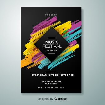 Retro music poster template Vector | Free Download