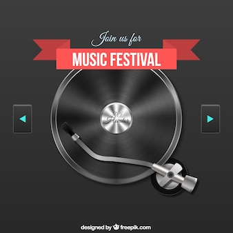 Music festival poster with a record player