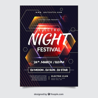 Music festival poster with abstract shapes