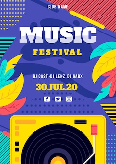Music festival poster with dj