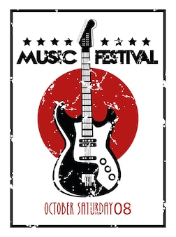 Music festival poster with electric guitar instrument in white background.