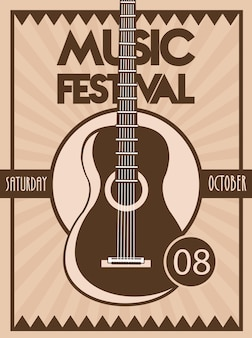 Music festival poster with guitar acoustic instrument in vintage background.