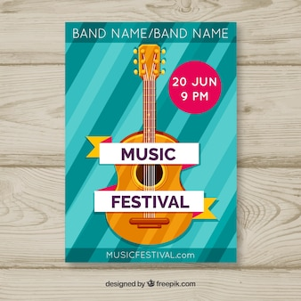 Music festival poster with instruments in flat style