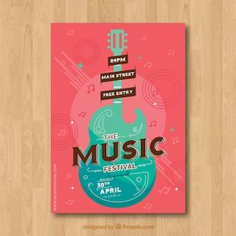 평면 스타일의 악기와 음악 축제 포스터