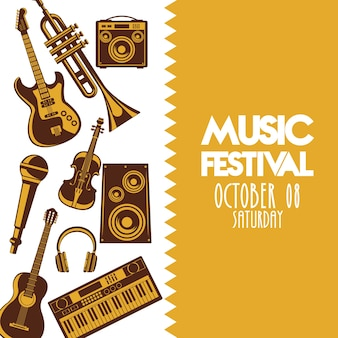 Music festival poster with instruments and lettering.