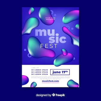Music festival poster with liquid effect