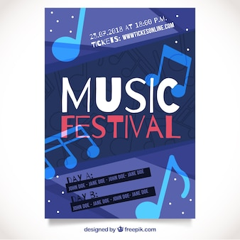 Music festival poster with music notes
