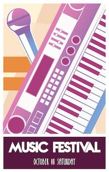 피아노 악기와 마이크가있는 음악 축제 포스터.
