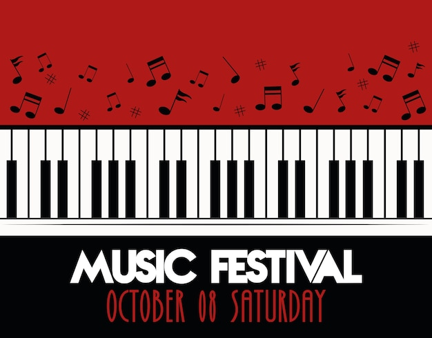 Music festival poster with piano instrument musical and lettering.