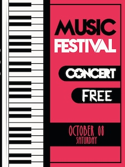 Music festival poster with piano instrument musical.