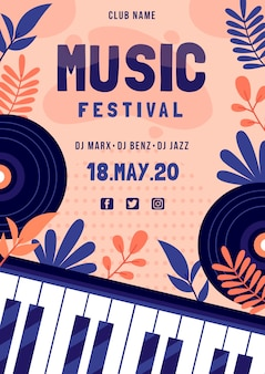 Music festival poster with piano keyboard