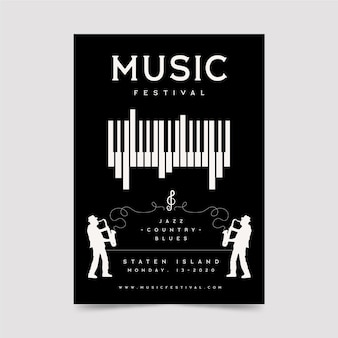 Music festival poster with piano