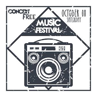 스피커 흑백 레이블이있는 음악 축제 포스터.