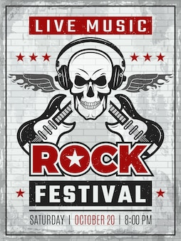 Music festival retro poster. rock guitar musical instruments in monochrome style.  placard of rock or music festivity
