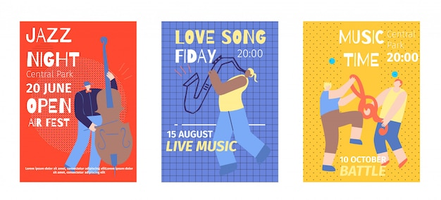 Music festival set flat invitation color posters