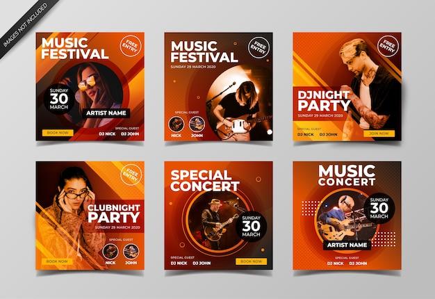 Музыкальный фестиваль баннер в социальных сетях для шаблона сообщения в социальных сетях