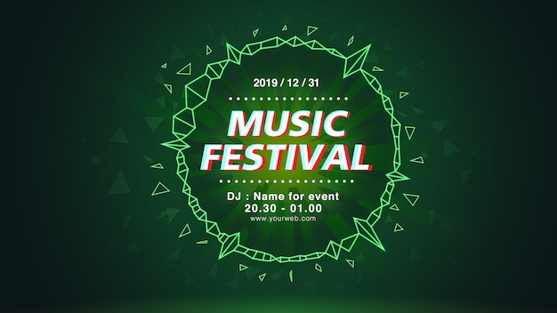 Music festival web screen background in green theme