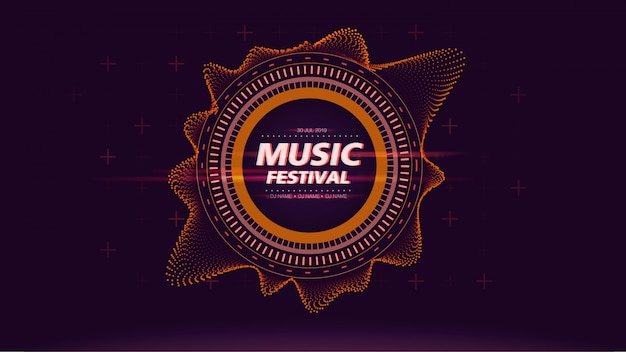 Music festival web screen background in orange