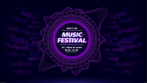 Music festival web screen background in purple theme.