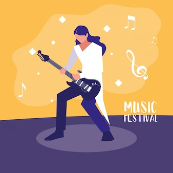 Music festival with man playing electric guitar
