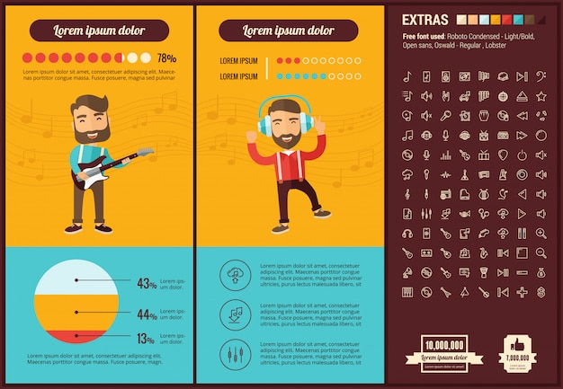 Music flat design infographic template and icons set