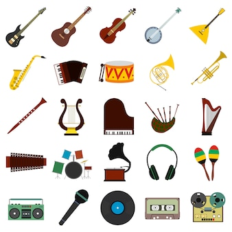 Music flat elements set for web and mobile device