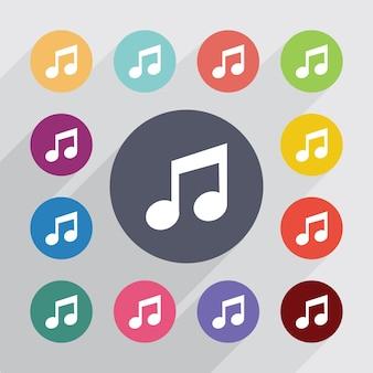 음악, 평면 아이콘을 설정합니다. 라운드 다채로운 단추입니다. 벡터
