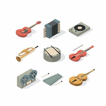 Музыка, плоская иллюстрация, набор иконок музыкальных инструментов