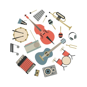 Музыка, плоская иллюстрация музыкальных инструментов, набор иконок