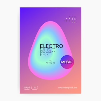 Music flyer. electronic sound. night dance lifestyle holiday. trendy techno concert magazine