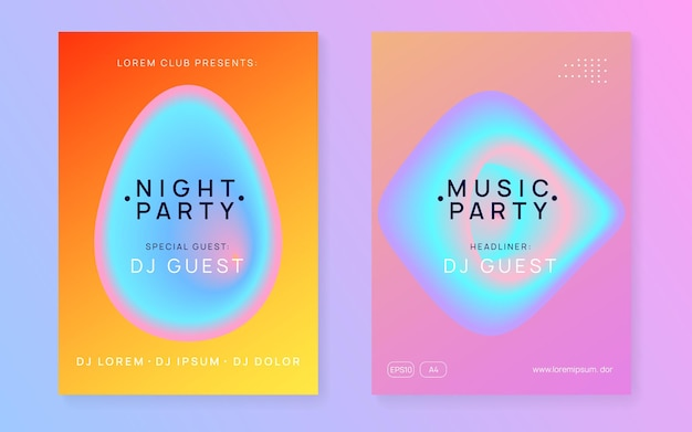 Music flyer set. fluid holographic gradient shape and line. electronic sound. night dance lifestyle holiday.