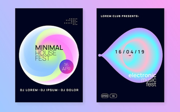 Music flyer. trendy art for magazine. sound and exhibition template. linear neon party. memphis background for brochure concept. pink and blue music flyer