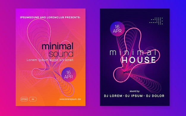 Music flyer. trendy discotheque cover set. dynamic fluid shape and line. neon music flyer. electro dance dj. electronic sound fest. techno trance party. club event poster.