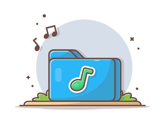 Music folder icons with tune and note of music  . blue folder icon music white isolated