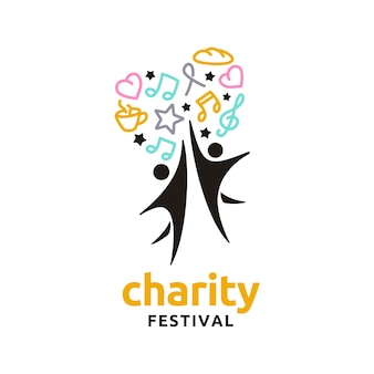 Music food people heart star love for charity party festival logo