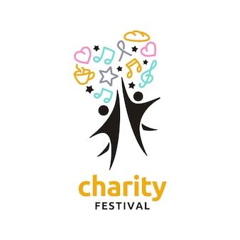 Музыка еда люди сердце звезда любовь для благотворительной вечеринки логотип фестиваля