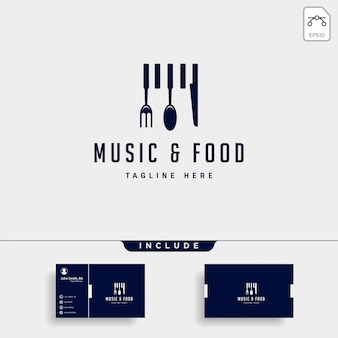 Music food simple flat logo illustration icon element