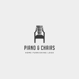 Music furniture logo design vector icon illustration icon element isolated