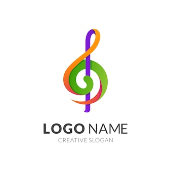 Music and g key logo template, modern 3d logo style in gradient vibrant colors