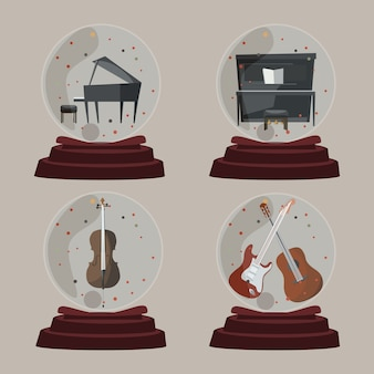 Music in glass ball vector illustration