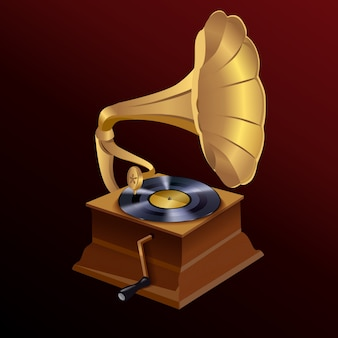 Music gramophone illustration