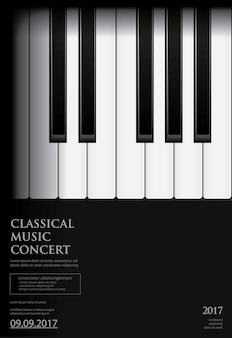 Music grand piano poster background template
