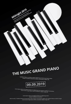 Music grand piano poster background