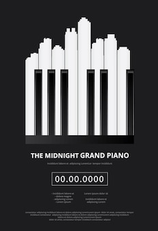 Music grand piano poster illustration